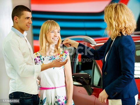 917259790istockphoto Cheerful Young Couple Buying Car. 172464554