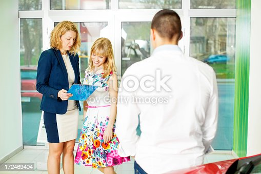 1178695243 istock photo Cheerful Young Couple Buying Car. 172469404