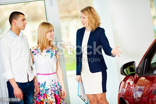 1178695243 istock photo Cheerful Young Couple Buying Car. 172476528