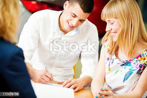 136591825istockphoto Cheerful Young Couple Buying Car. 172479756
