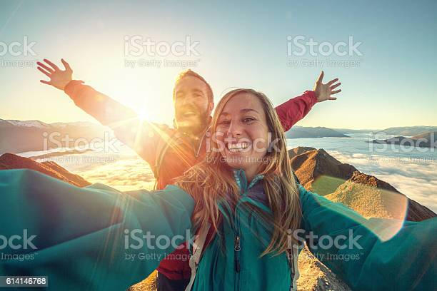 Cheerful young couple on mountain top take selfie picture id614146768?b=1&k=6&m=614146768&s=612x612&h=8kh3 hy88mzopzlw7skhf1xybblks1r5pz4r7dscf4c=