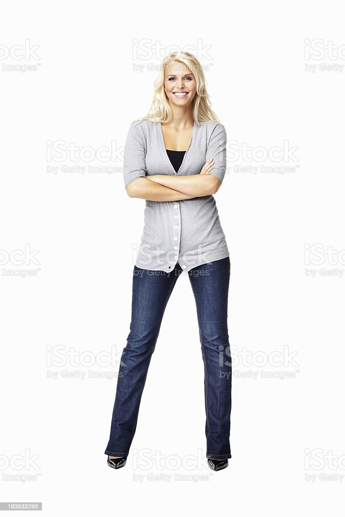 Gaie jeune femme avec les mains pliées - Photo