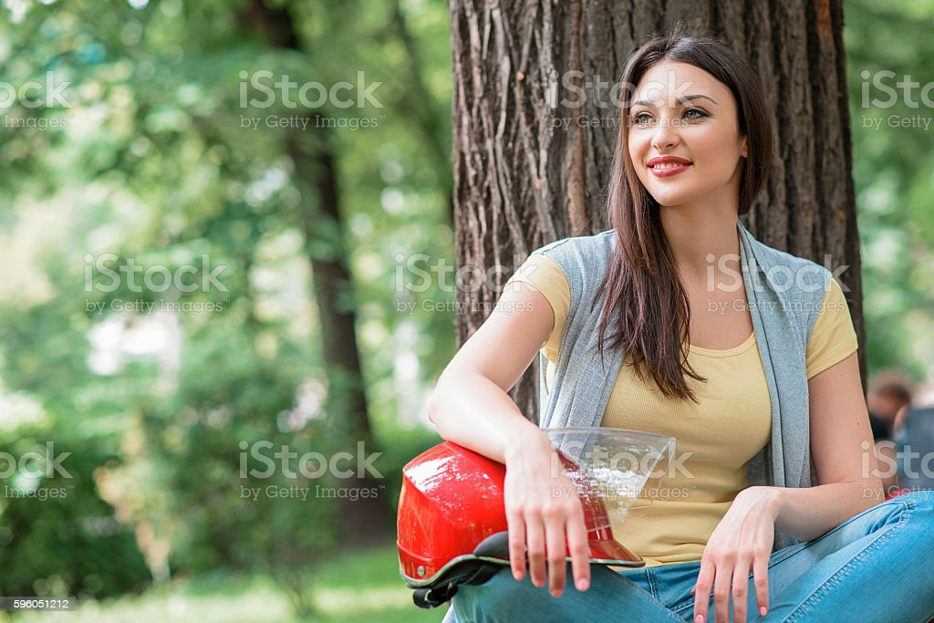 Cheerful young girl resting in nature royalty-free stock photo