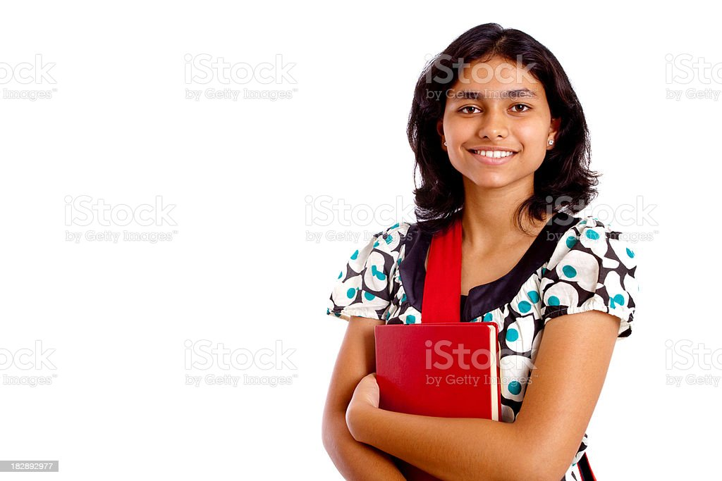 Cheerful Young Indian Female Student Holding book isolated on white royalty-free stock photo