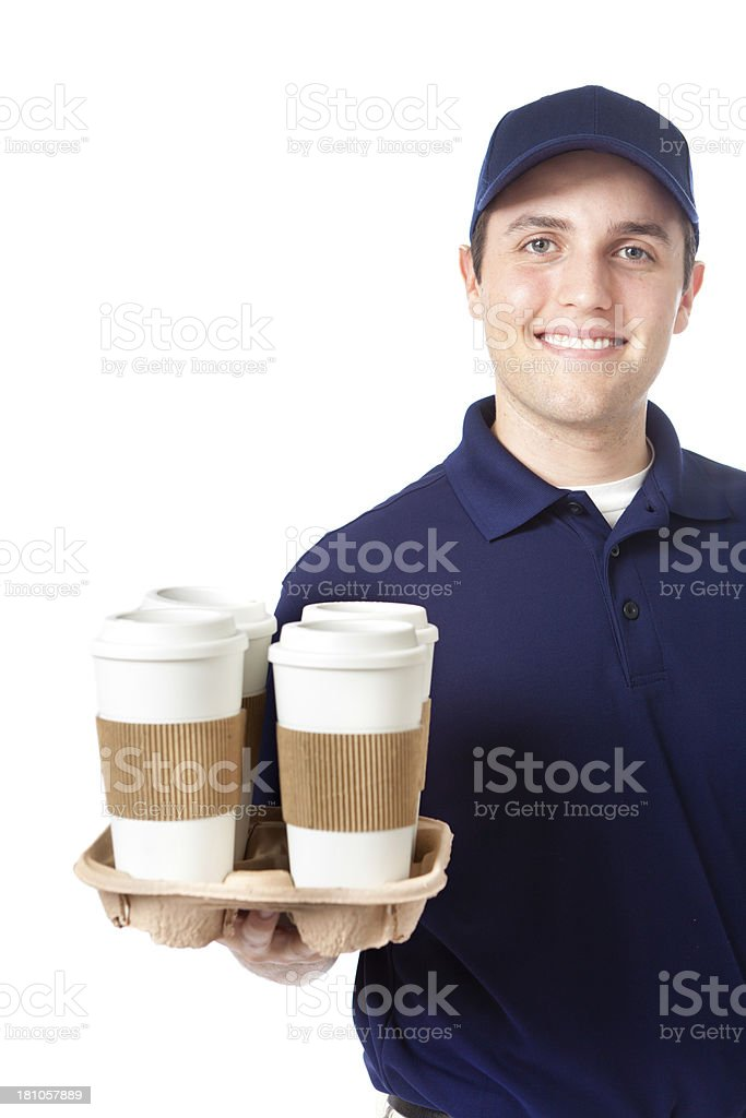 Cheerful Young Man Delivering Drinks and Coffee on White Background stock photo