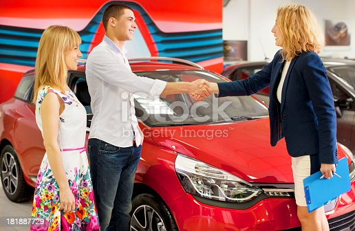 istock Cheerful Young Meeting With Salesperson. 181887729