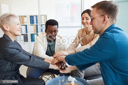 847516586 istock photo Cheerful Young People in Support Group 1213228493