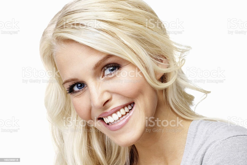 Cheerful, young woman against white background royalty-free stock photo