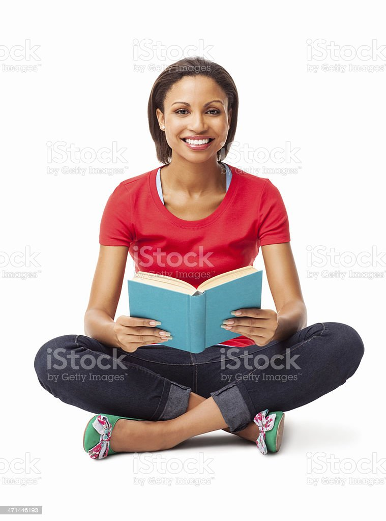 Cheerful Young Woman Holding Book - Isolated stock photo