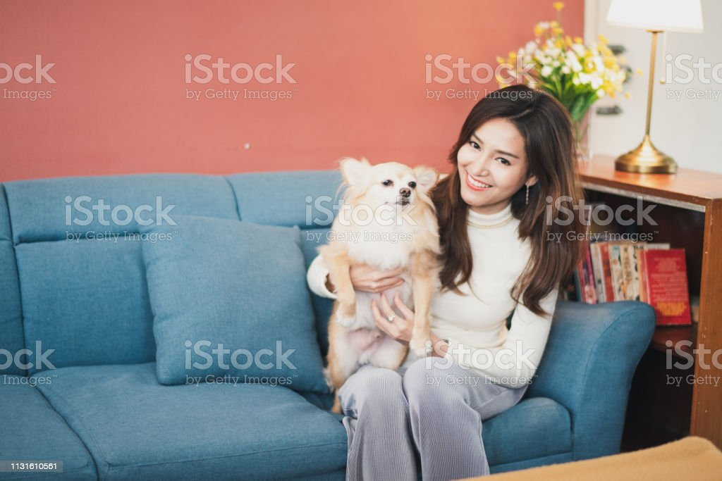 Cheerful young woman holding her puppy with black nose. Indoor...