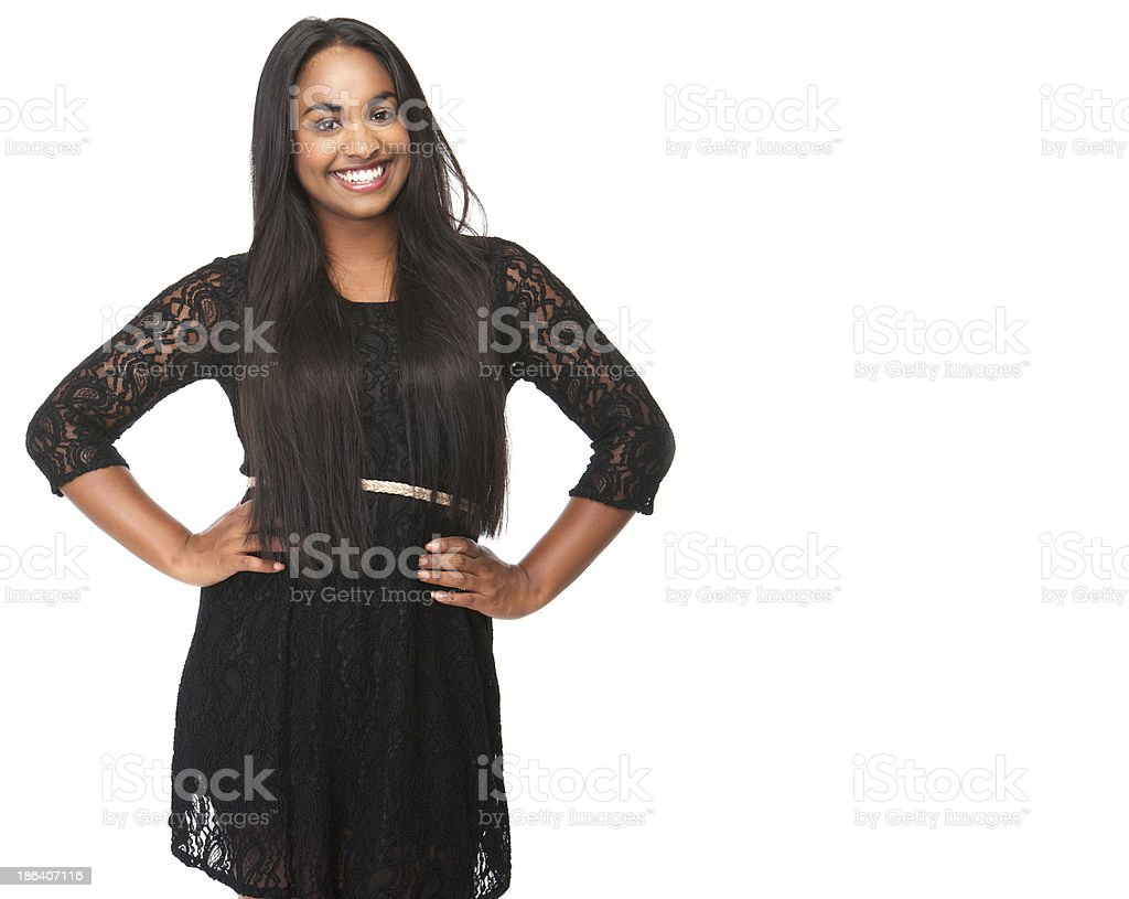 Cheerful young woman smiling royalty-free stock photo