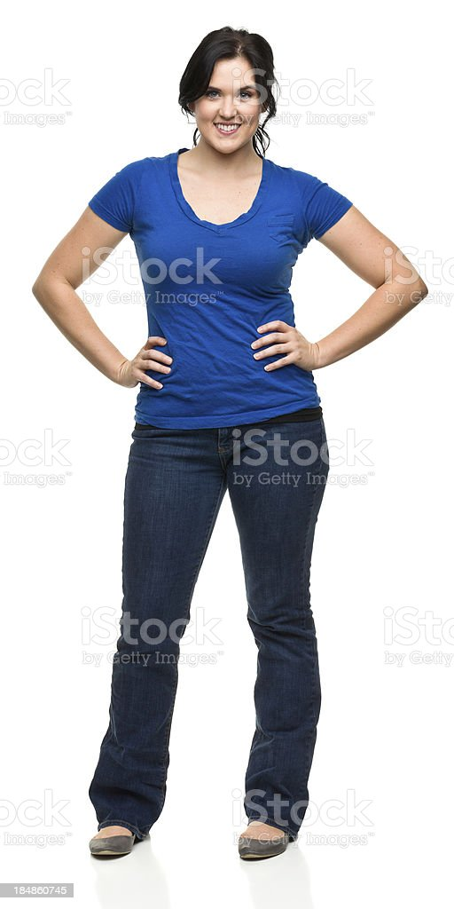 Cheerful Young Woman Standing Portrait stock photo