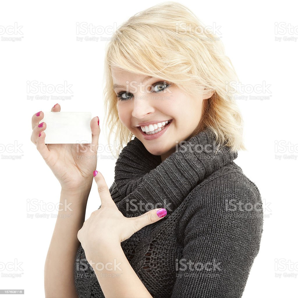 Cheerful Young Woman with Blank Gift Card royalty-free stock photo