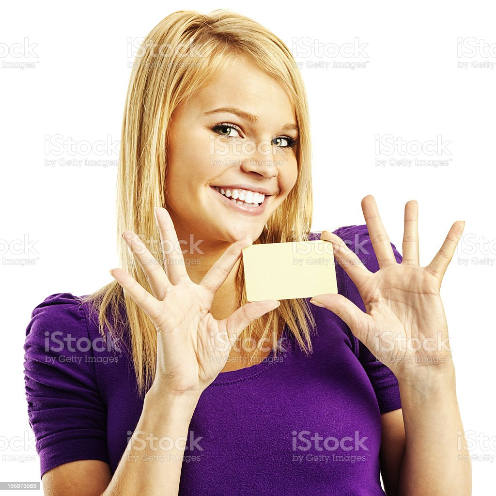 Cheerful Young Woman with Blank Gold Credit Card stock photo