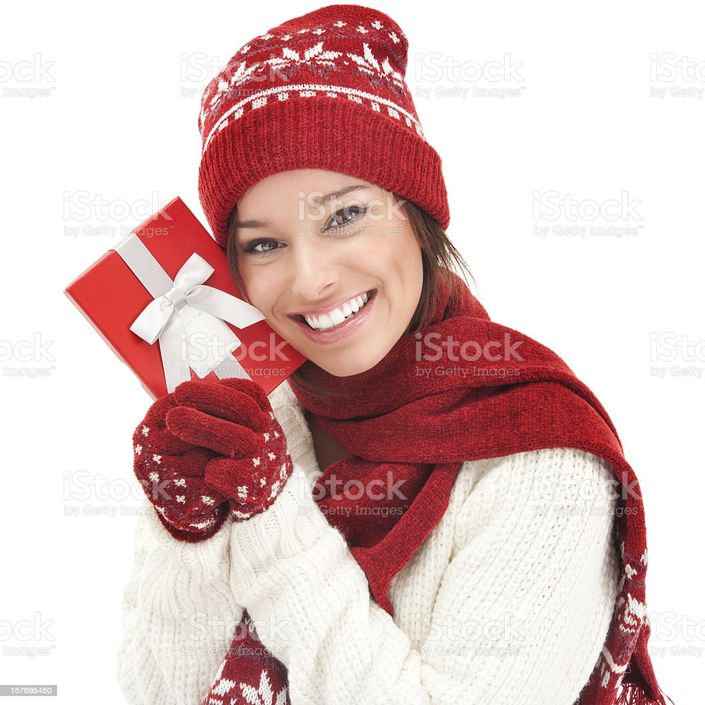 Cheerful Young Woman with Christmas Gift Box royalty-free stock photo