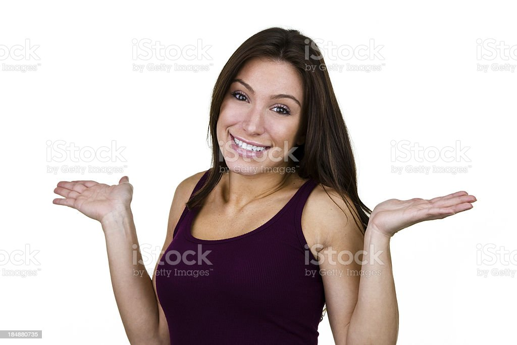 Cheerful young woman with hands up for copy space royalty-free stock photo