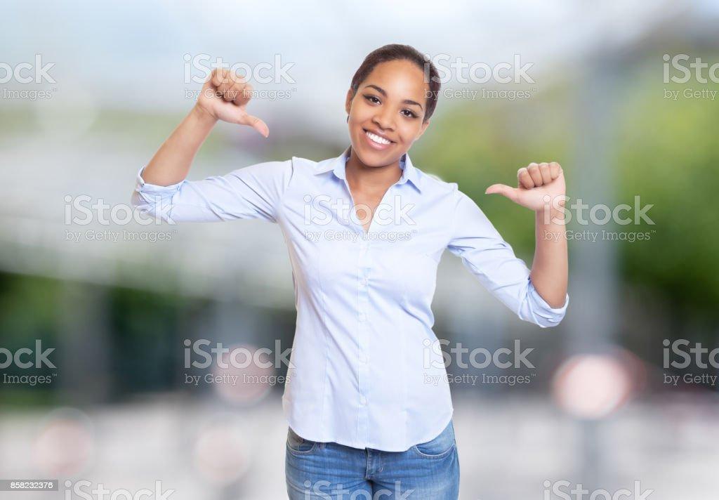 Cheering african american businesswoman stock photo