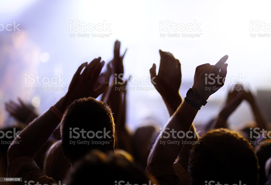 Cheering and watching crowd, blurred motion. royalty-free stock photo