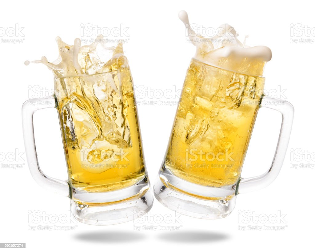 Cheering beer stock photo