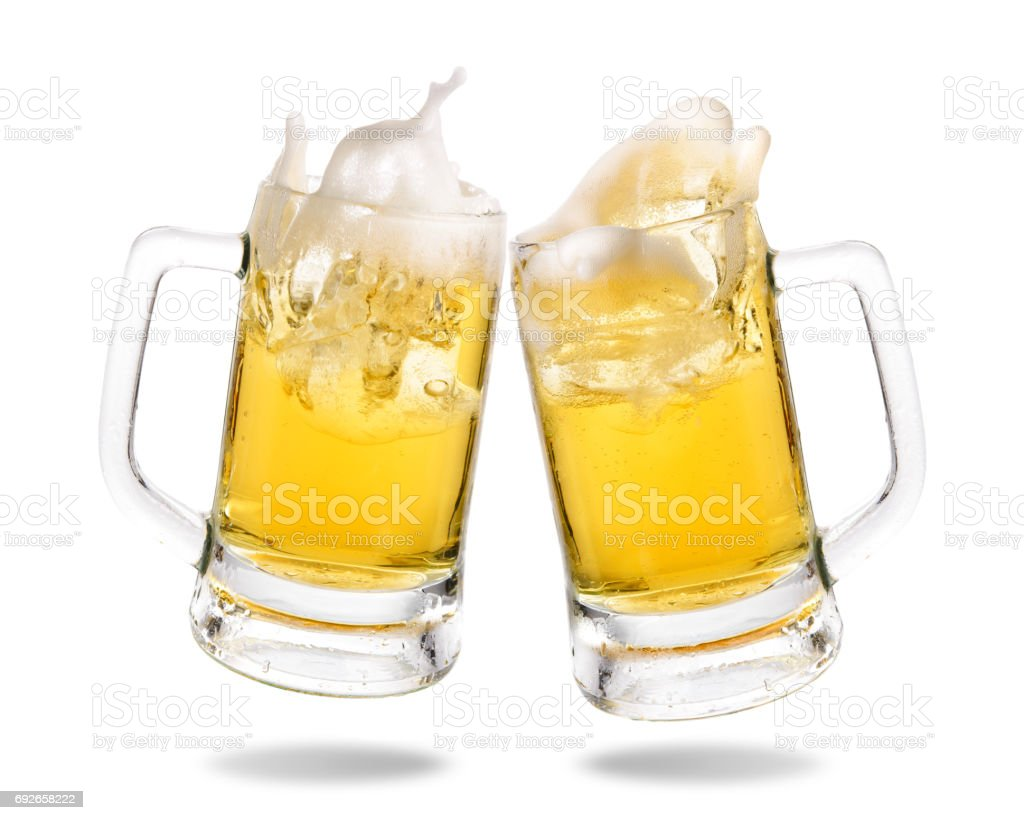 Cheering beer stock photo