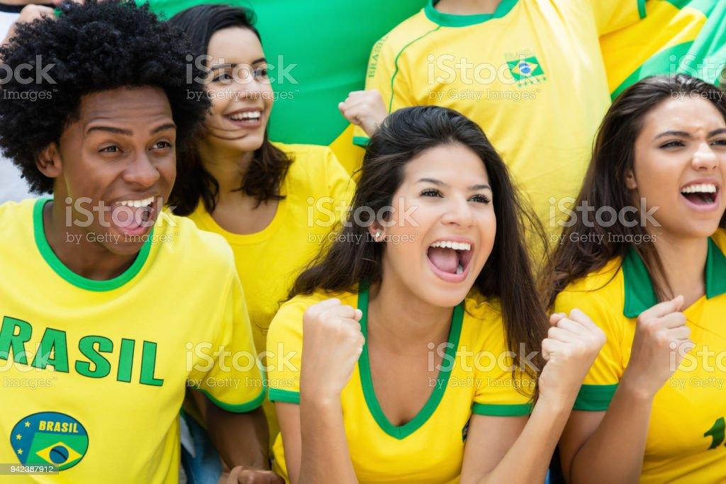 Fãs do futebol brasileiro, com a bandeira no estádio delirantes - foto de acervo