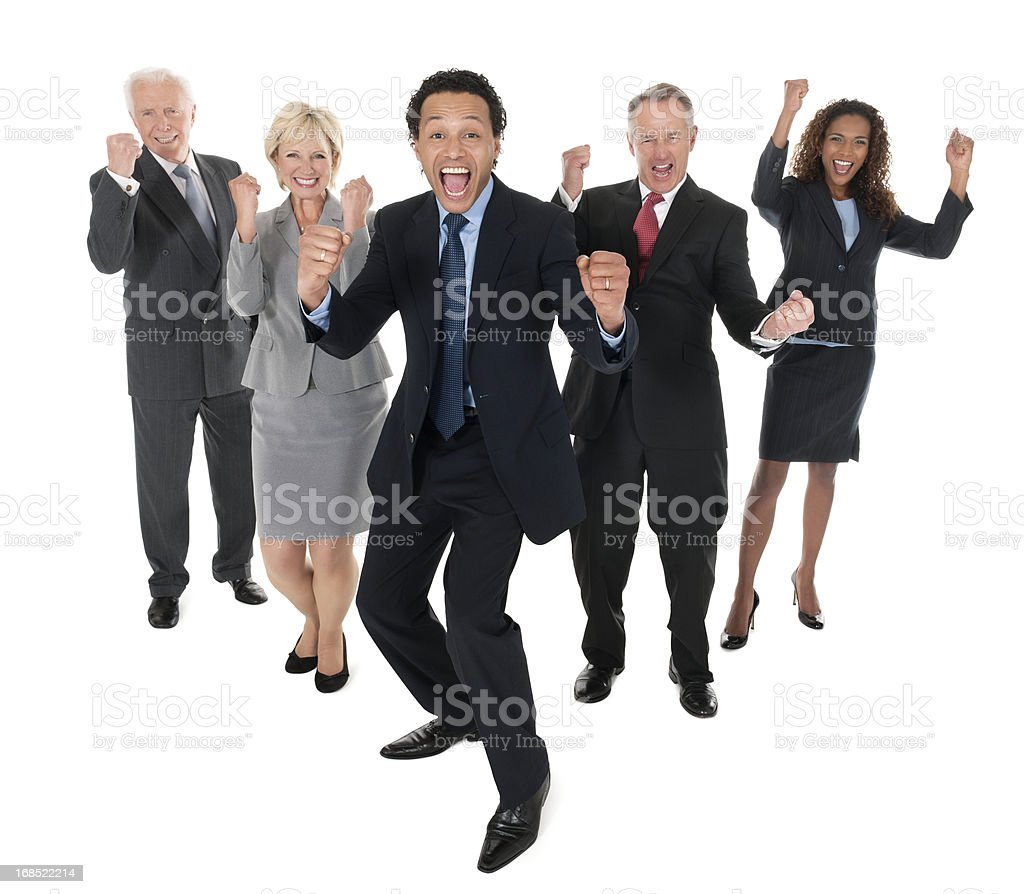 Cheering Business People - Isolated royalty-free stock photo