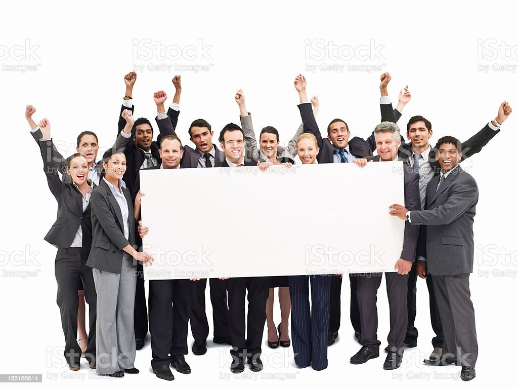 Cheering Businesspeople Holding a Blank Placard - Isolated royalty-free stock photo
