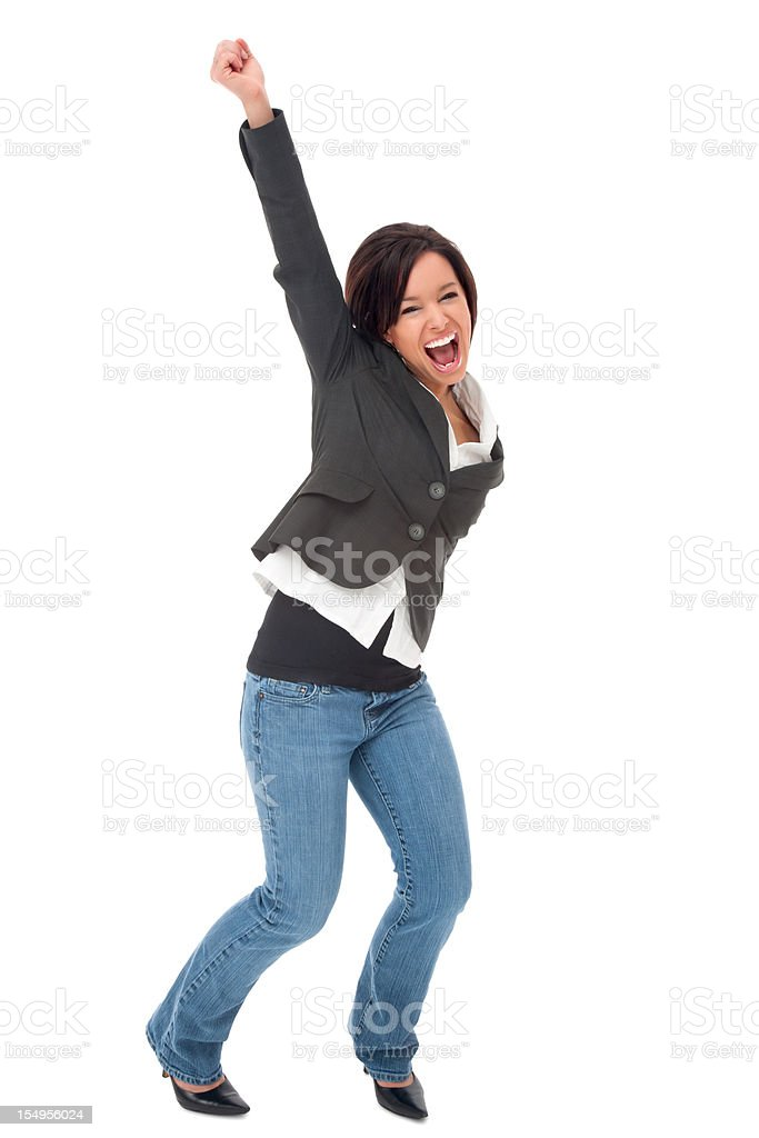 Cheering Businesswoman in Jeans royalty-free stock photo
