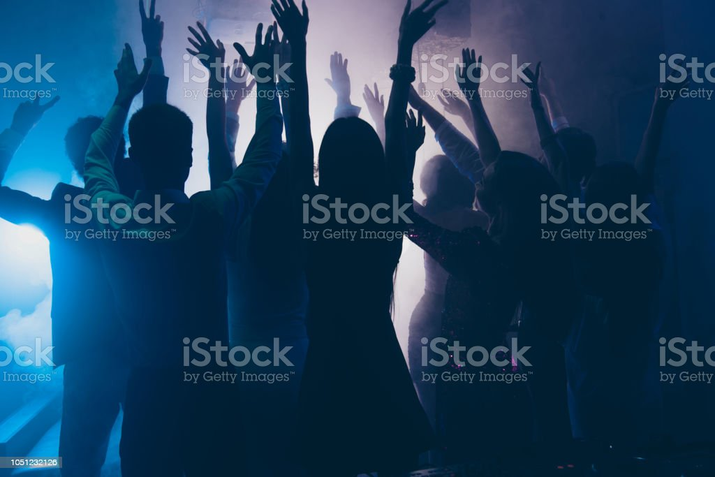 Cheering celebrity super star concept. Photo of many people enjoying...