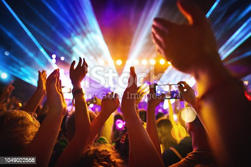 istock Cheering crowd at a concert. 1049022558