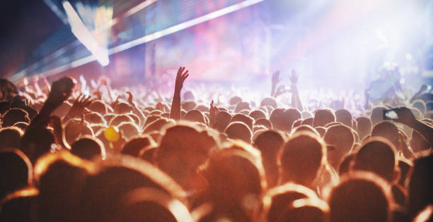 Cheering crowd at a concert. stock photo