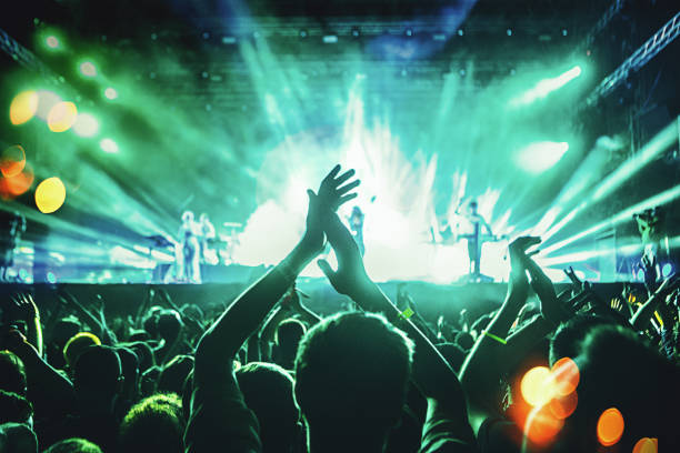 cheering crowd at a concert. - popular music concert stock photos and pictures