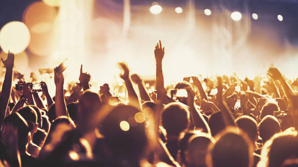 cheering crowd at a concert. - crowded stock pictures, royalty-free photos & images