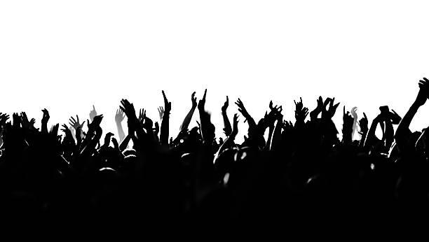cheering crowd silhouette stock photo