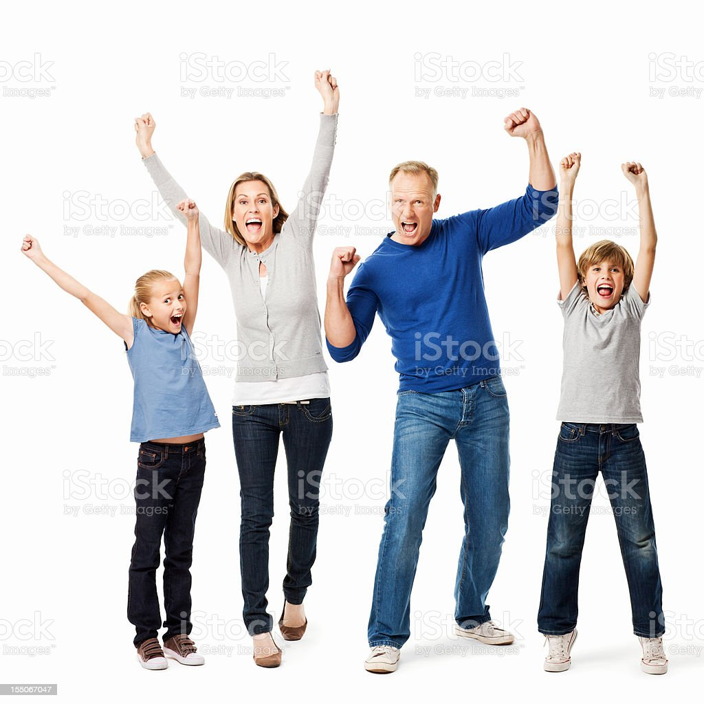 Cheering Family - Isolated stock photo