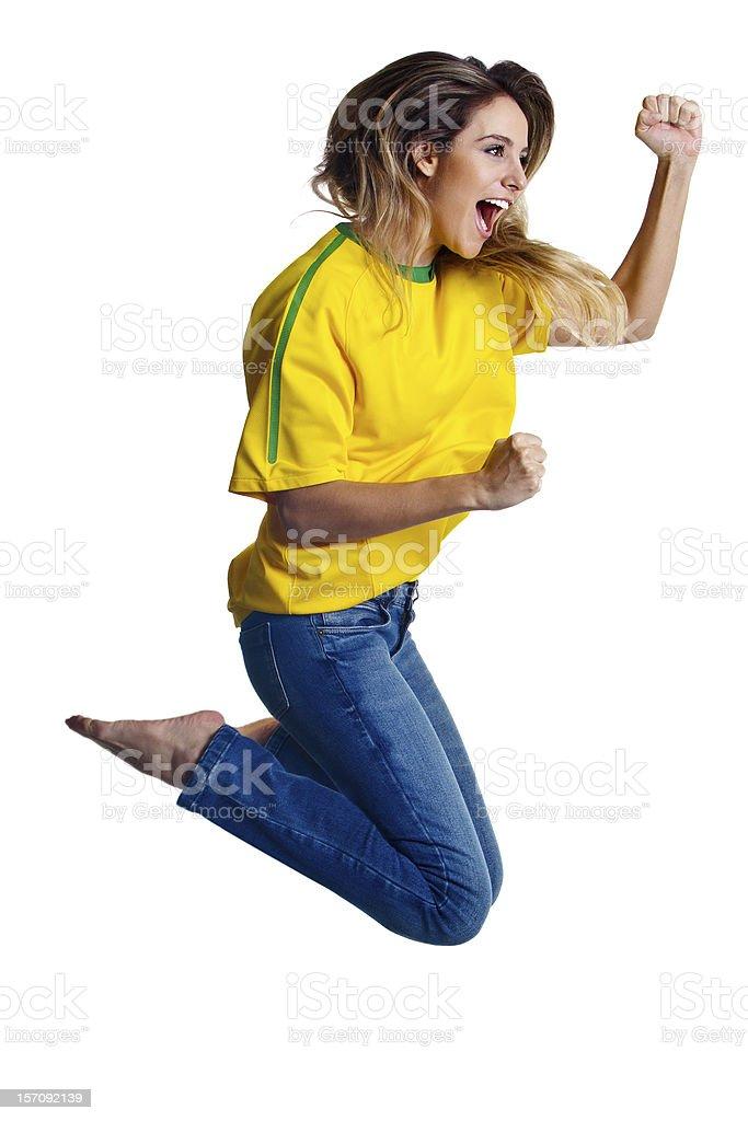 Comemorando para time de futebol do Brasil - foto de acervo