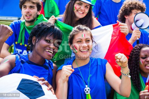 537894724 istock photo Cheering Group of Italian Footbal Team Supporters 181067819
