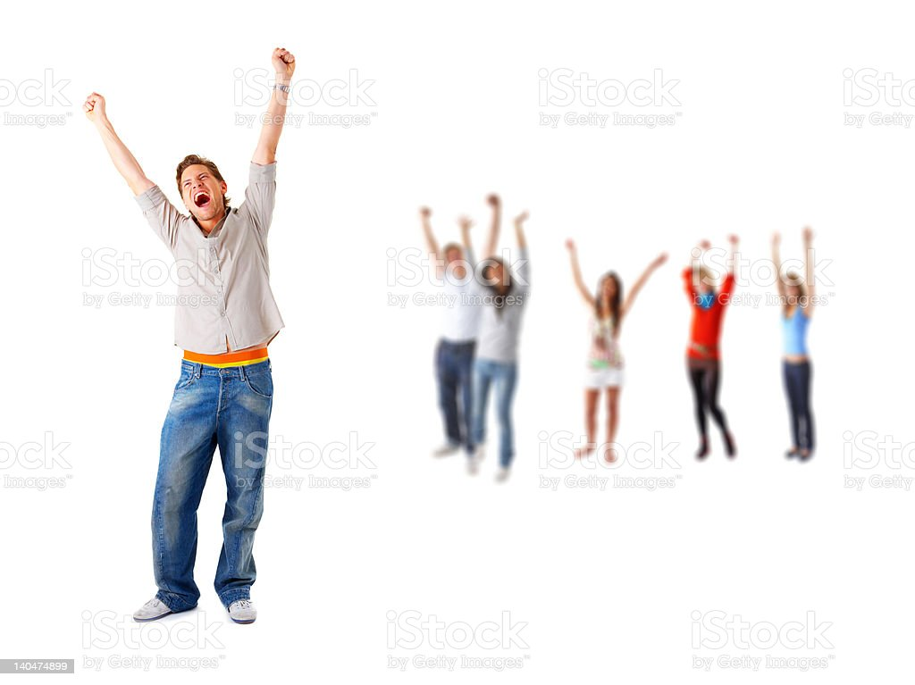Cheering group of people royalty-free stock photo
