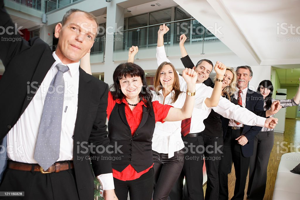 Cheering group stock photo