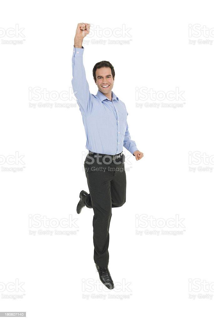 Cheering Jumping Man royalty-free stock photo