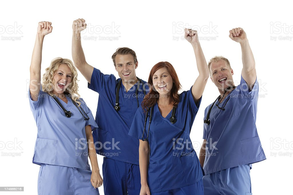 Cheering medical professionals team royalty-free stock photo