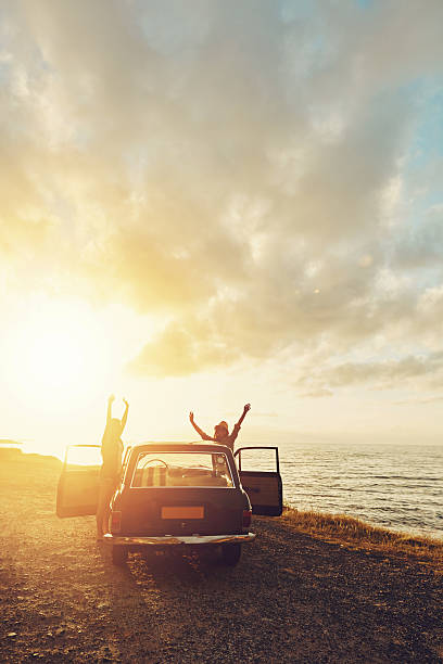 Cheering on the sun stock photo