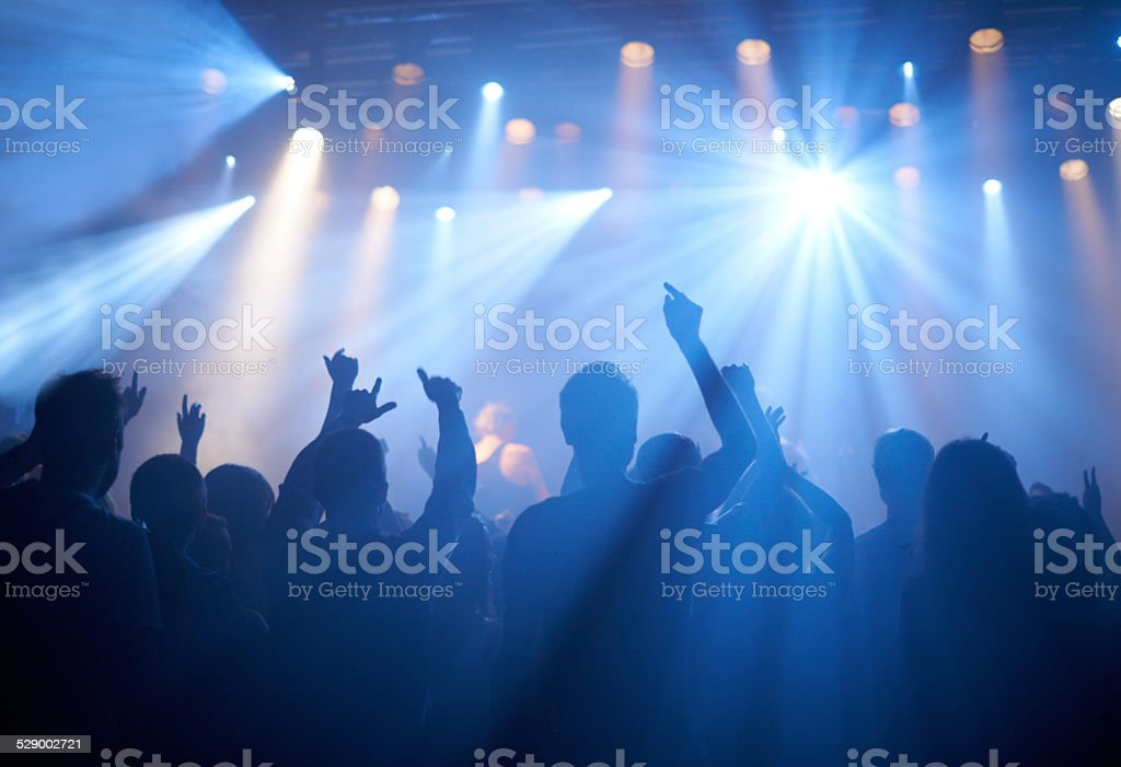 Cheering on their favourite band stock photo