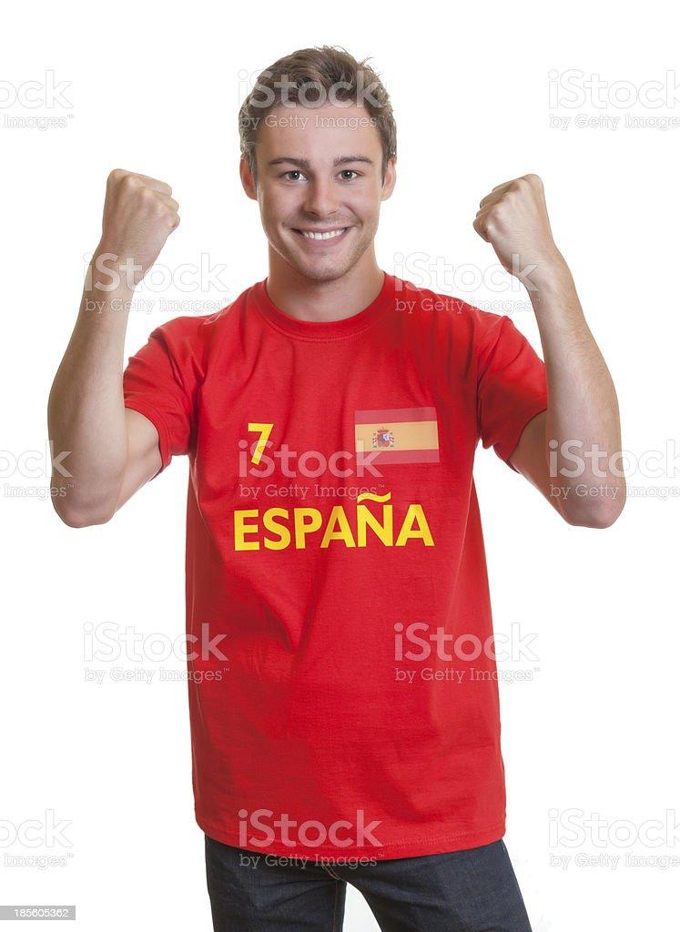 Cheering spanish soccer fan stock photo