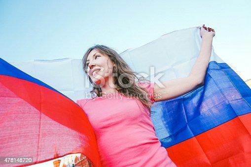 537894724istockphoto Cheering Woman Under Russian Flag 478148720