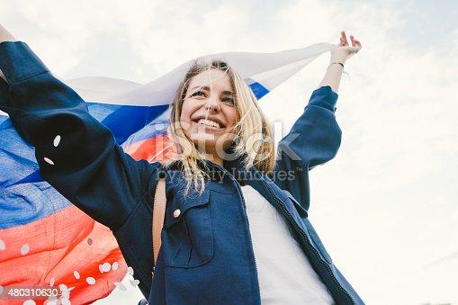537894724istockphoto Cheering Woman Under Russian Flag 480310630