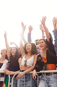 istock Cheering Young Friends In Audience Behind Barrier At Outdoor Festival Enjoying Music 1181403072