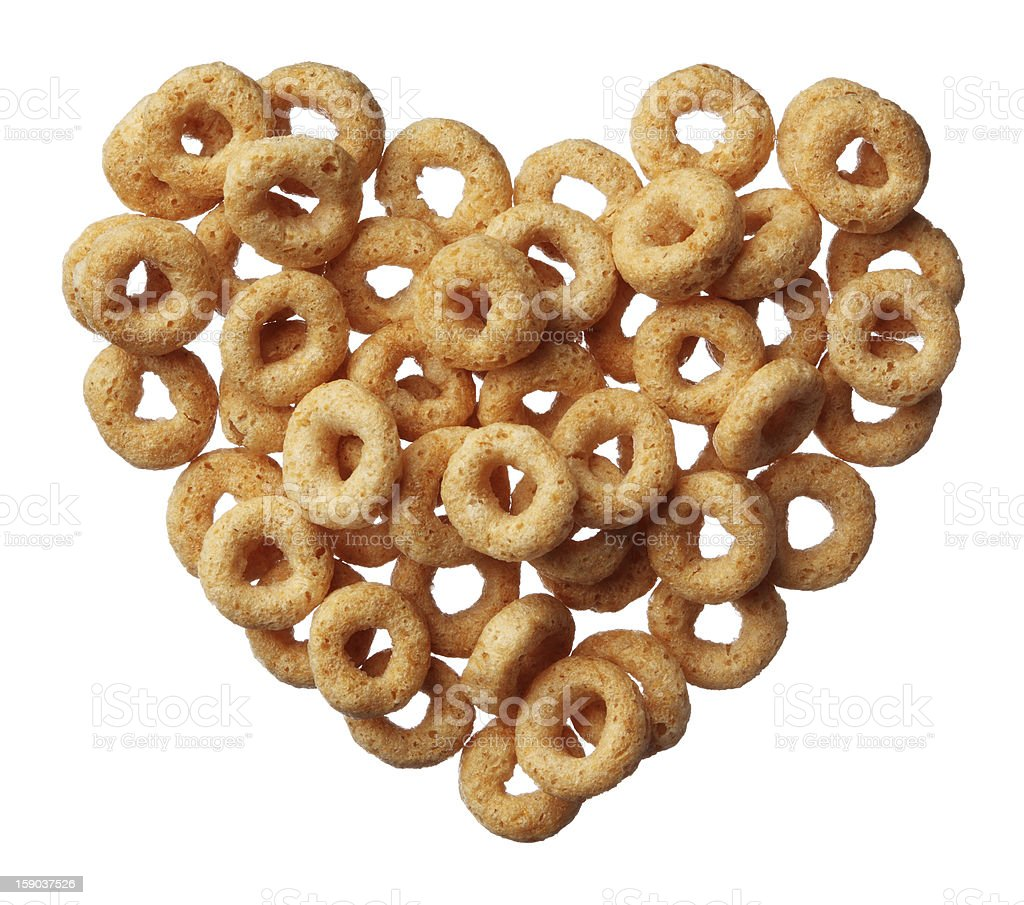 Cheerios cereal in a heart shape isolated on white background royalty-free stock photo