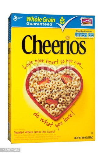 Chattanooga, USA - July 16, 2011: A box of General Mills\' Cheerios, a whole grain oat breakfast cereal.