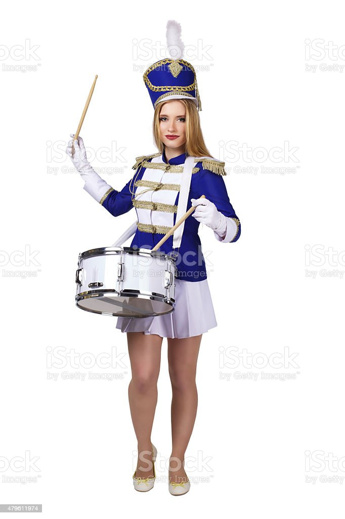 cheerleade drummer isolated on white background stock photo